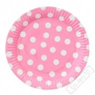 Papírové party talíře s puntíky velké růžové