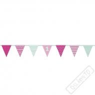 Party girlanda vlajky 1. narozeniny Pinky