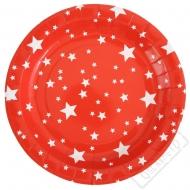 Papírové party talíře Star červené