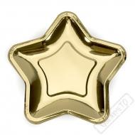 Papírové party talíře Hvězda zlatá