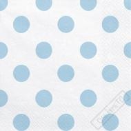 Papírové ubrousky s puntíky azurové