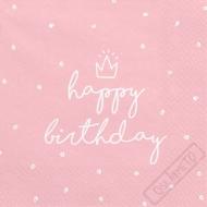 Papírové ubrousky Birthday Style růžové