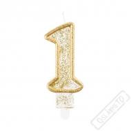 Narozeninová svíčka Glitter Gold číslo 1