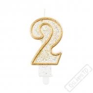 Narozeninová svíčka Glitter Gold číslo 2
