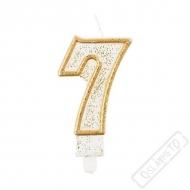 Narozeninová svíčka Glitter Gold číslo 7