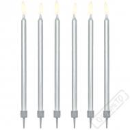 Dortové svíčky se stojánky Elegant stříbrné