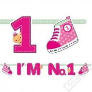 Narozeninový banner Jsem číslo 1 růžový