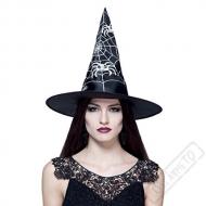 Čarodějnický klobouk černý s bílými pavouky