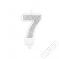 Narozeninová svíčka stříbrná číslo 7
