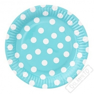Papírové party talíře s puntíky velké modré