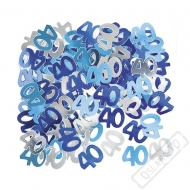 Dekorační konfety na stůl číslo 40 modré