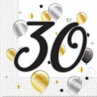 Papírové party ubrousky s číslem 30