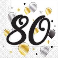 Papírové party ubrousky s číslem 80