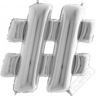 Nafukovací balón stříbrný hashtag 101cm