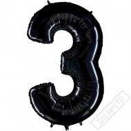 Nafukovací balón číslo 3 černý 101cm