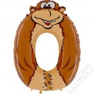 Nafukovací balón číslo 0 Zvířátko Opice 102cm