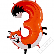 Nafukovací balón číslo 3 Zvířátko Liška 102cm