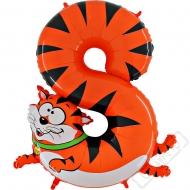 Nafukovací balón číslo 8 Zvířátko Tygr 102cm