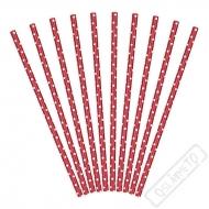 Papírová brčka s puntíky Červená