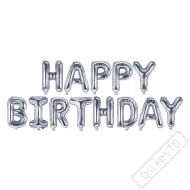 Nafukovací písmena HAPPY BIRTHDAY stříbrná