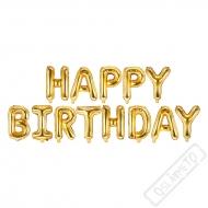 Nafukovací písmena HAPPY BIRTHDAY zlatá