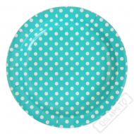 Papírové talířky s puntíky modré