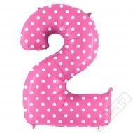 Nafukovací balón číslo 2 s puntíky růžový 102cm