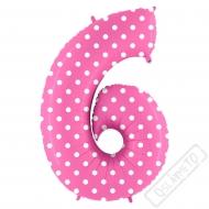 Nafukovací balón číslo 6 s puntíky růžový 102cm