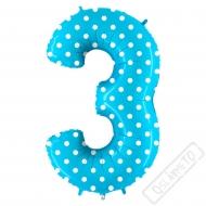 Nafukovací balón číslo 3 s puntíky modrý 102cm