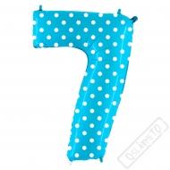 Nafukovací balón číslo 7 s puntíky modrý 102cm