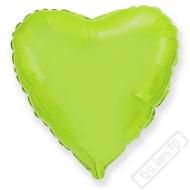 Nafukovací balónek fóliový Srdce limetkové 45cm