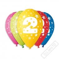 Nafukovací balónek latexový s číslem 2 mix