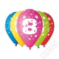Nafukovací balónek latexový s číslem 8 mix