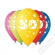 Nafukovací balónek latexový s číslem 30 mix