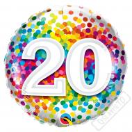 Narozeninový balónek Confetti číslo 20, 45cm