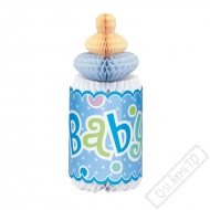 Papírová 3D dekorace Lahvička Baby modrá