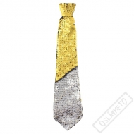 Party kravata flitrová Stříbrno-zlatá