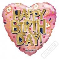 Nafukovací balónek Srdce Happy Birthday 46cm