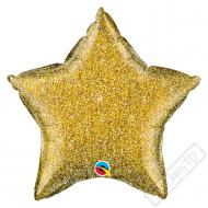 Nafukovací balónek Hvězda třpytivá zlatá 51cm