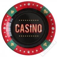 Papírové party talíře Casino