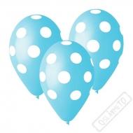 Latexový balónek s puntíky azurový