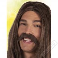 Umělý nalepovací knír Hippie Hnědý
