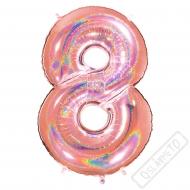 Nafukovací balón číslo 8 Glitter Rose Gold 102cm
