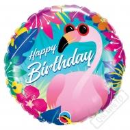 Nafukovací balónek narozeninový Plameňák Summer 45cm