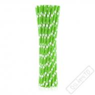 Papírová brčka s puntíky zelená