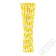 Papírová brčka s puntíky žlutá