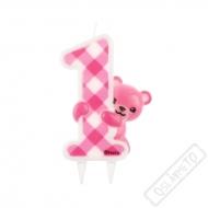 Narozeninová svíčka na dort číslo 1 Teddy pink