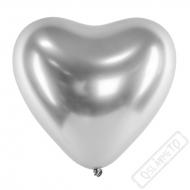Balónek latexový srdce Glossy Silver 30cm