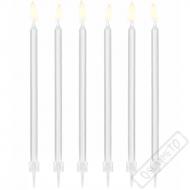 Dortové svíčky se stojánky dlouhé bílé