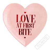 Papírové party talířky ve tvaru srdce Love